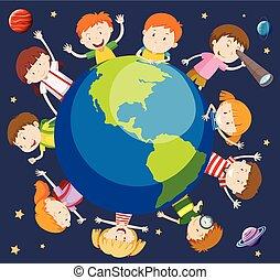 mondo, concetto, bambini, intorno