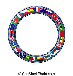 mondo, cornice, globale, bandiere, anello