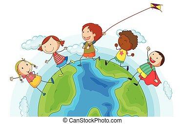 mondo, correndo, bambini, intorno