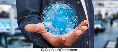 mondo, differente, Connettere, locali, uomo affari