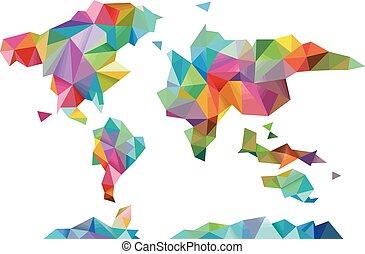 mondo, disegno geometrico, mappa