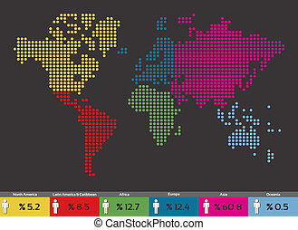 mondo, distribuzione, globale, popolazione, mappa