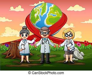 mondo, dottori, felice, standing, giorno, tre