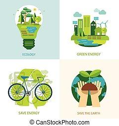 mondo, energia, concetto, pulito, risparmiare