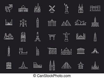 mondo, famoso, landmarks.