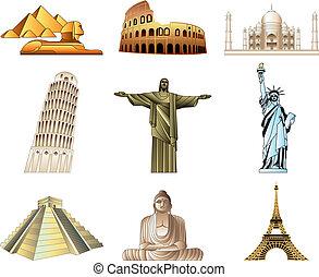 mondo, famoso, monumenti, icone, set