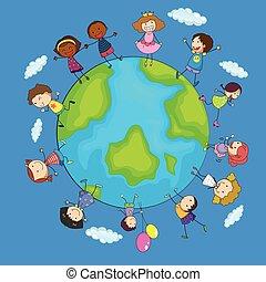 mondo, felice, bambini, intorno