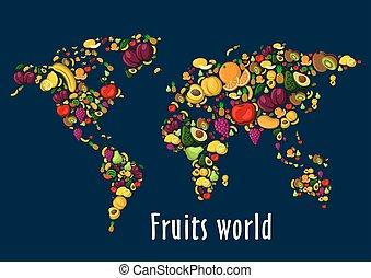 mondo, frutte, cartellone, fondo, mappa