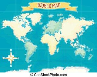 mondo, geografia, illustrazione, mappa
