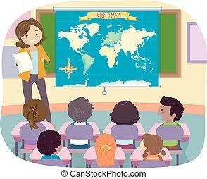 mondo, geografia, stickman, insegnante, bambini, mappa