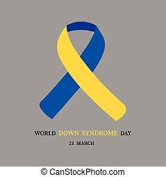 mondo, giù, vettore, promuovere, sindrome, illustrazione, day.