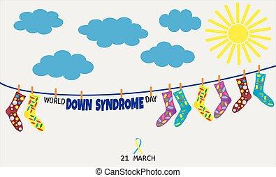 mondo, giù, vettore, promuovere, sindrome, illustrazione, giorno