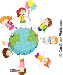 mondo, gioco, bambini, intorno