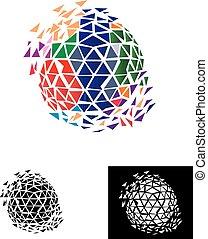 mondo, globale, pixel, logotipo