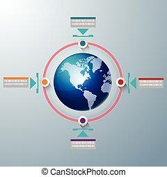mondo, globale, tecnologia, informazioni