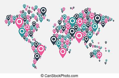 mondo, gps, concetto, mappa