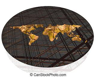 mondo, grid., mappa