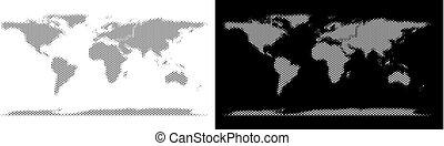 mondo, halftone, continente, mappa