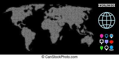 mondo, halftone, punteggiato, mappa