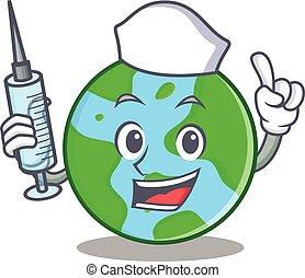 mondo, infermiera, carattere, globo, cartone animato