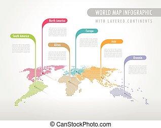 mondo, infographic, colorito, mappa