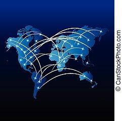 mondo, internet, trafficare, mercato, mappa