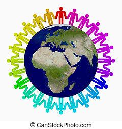 mondo, intorno, persone
