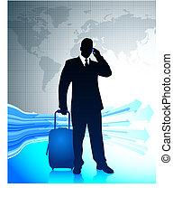 mondo, intorno, uomo affari, viaggiare