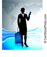 mondo, intorno, viaggiare, donna d'affari