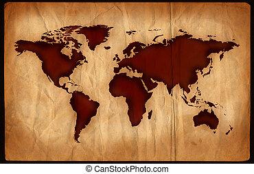 mondo, invecchiato, mappa