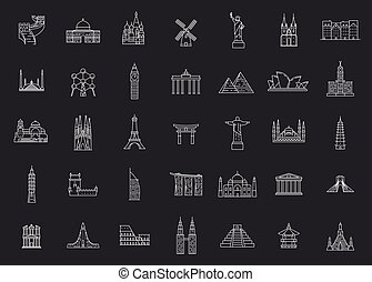 mondo, landmarks., famoso