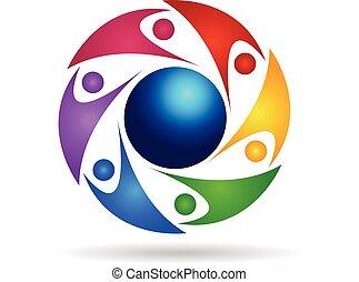 mondo, lavoro squadra, intorno, logotipo