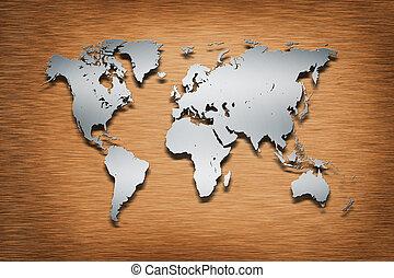 mondo, legno, metallo, mappa