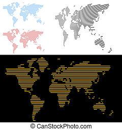 mondo, linea, schermo, mappa