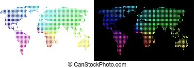 mondo, luminoso, pixelated, mappa