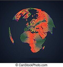 mondo, mappa, vettore, illustrazione, colorito