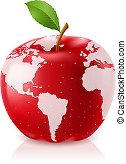 mondo, mela, rosso, mappa