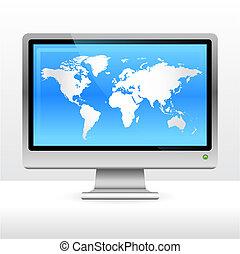 mondo, monitor computer, mappa