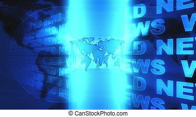 mondo, notizie, fondo, blu, annodare