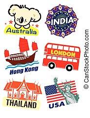 mondo, paese, viaggiare, punto di riferimento, icona
