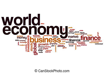mondo, parola, nuvola, economia