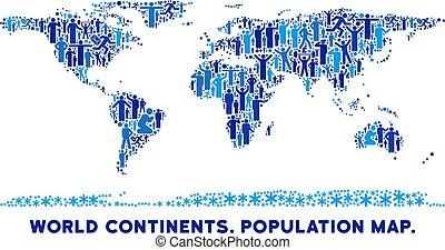 mondo, persone, continente, mappa