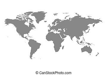 mondo, politico, grigio, illustrazione, mappa