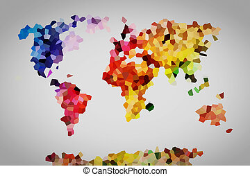 mondo, poly, map., basso, colorito
