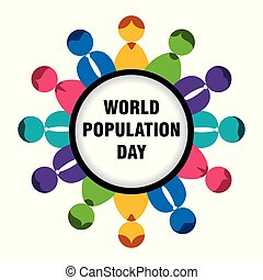 mondo, popolazione, disegno, giorno, manifesto