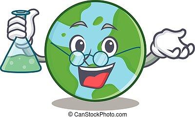 mondo, professore, carattere, globo, cartone animato