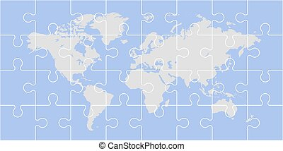 mondo, puzzle, mappa