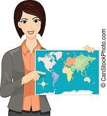 mondo, ragazza, insegnante, illustrazione, mappa