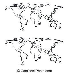 mondo, scarabocchiare, semplice, stilizzato, map.