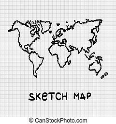 mondo, schizzo, map., disegnato, mano